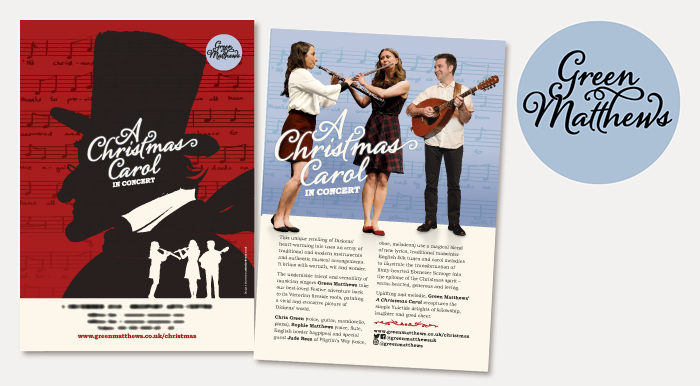 Design of image, logo and publicity for Green Matthews A Christmas Carol in Concert