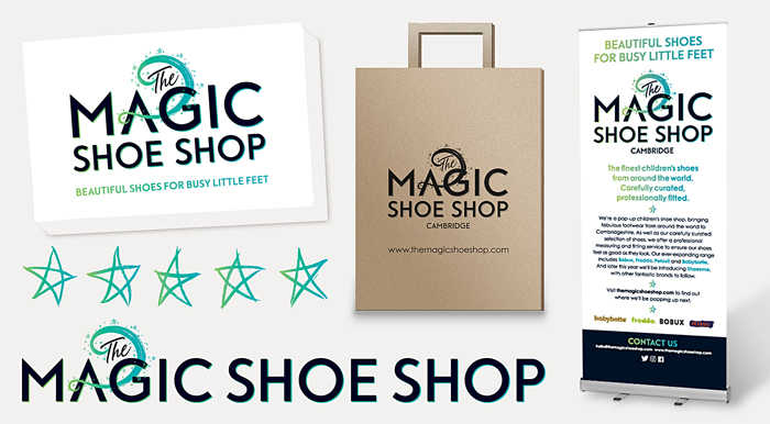 Design of new identity for Cambridge-based pop up shop selling quality shoes for children