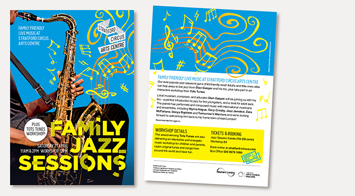 Design of Family Jazz Sessions flyers for Stratford Circus Arts Centre
